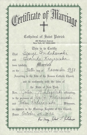 leonida and george marriage certificate, church