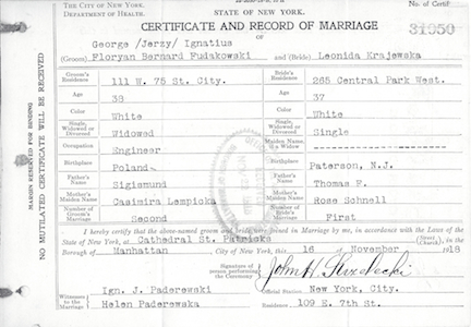 george and leonida marriage certificate, city hall, page 1